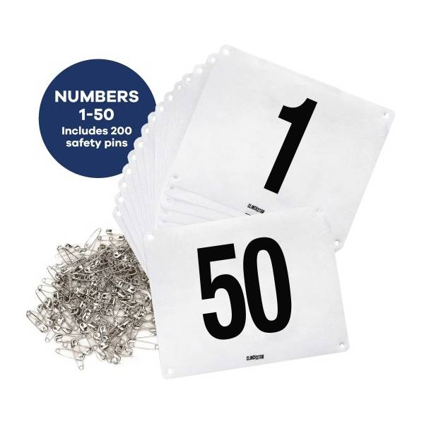 RUNNING BIB NUMBERS WITH SAFETY PINS FOR MARATHONS